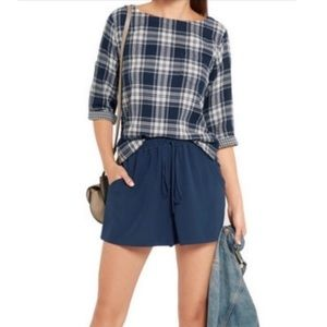 Madewell Harold Flannel Plaid Top Blue White